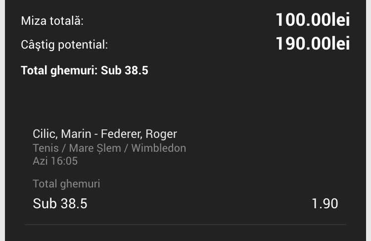 Finala masculina de la Wimbledon | Biletul zilei din tenis de azi