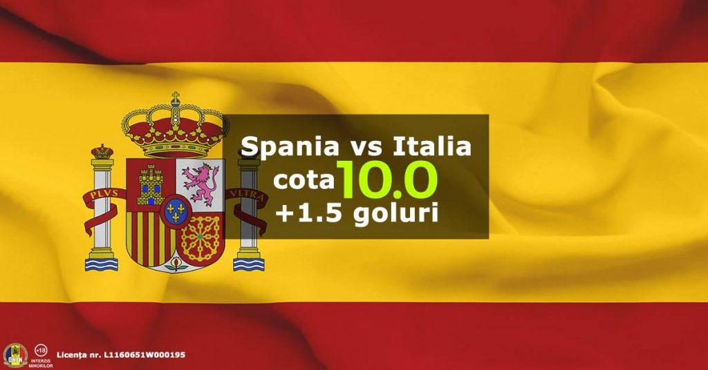 Nu rata o cota de 10 pentru 2+ goluri marcate la Spania vs Italia