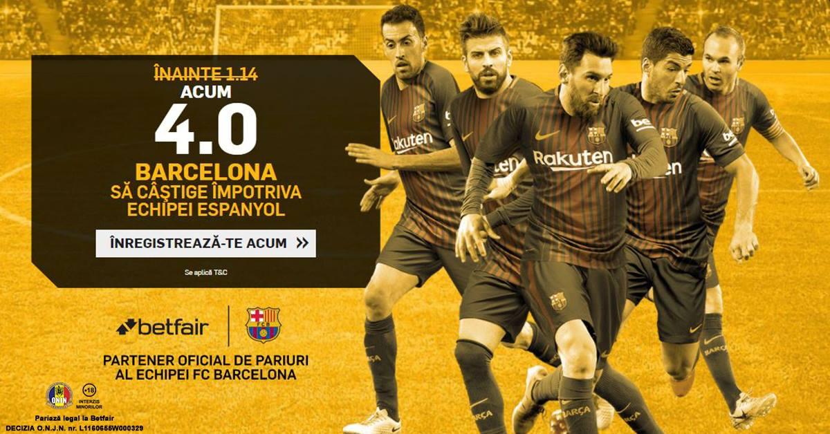 Mizeaza la cota 4.0 pe o victorie a Barcelonei cu Espanyol