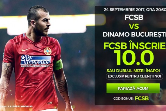 360 RON profit daca FCSB inscrie cu Dinamo in meciul de duminica